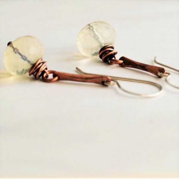 Pineapple Quartz Earrings Hammered Copper Sterling Ear Wires Handmade Jewelry Ru