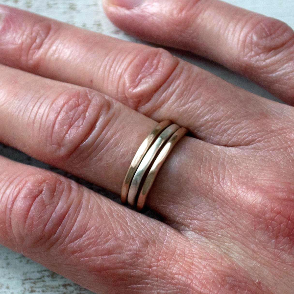 Hammered Ring Set Sterling and Bronze Rings Stacked Rings
