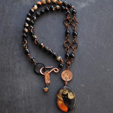 Cat Necklace Cat Lover Jewelry Black Cat Jewelry
