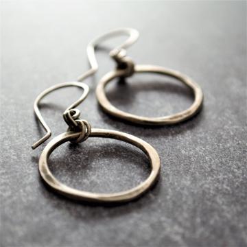 Hammered Sterling Earrings Hoop Earrings Quatrefoil Earrings Rustic Modern Earrings