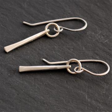 Sterling Silver Dagger Earrings Tapered Sterling Earrings