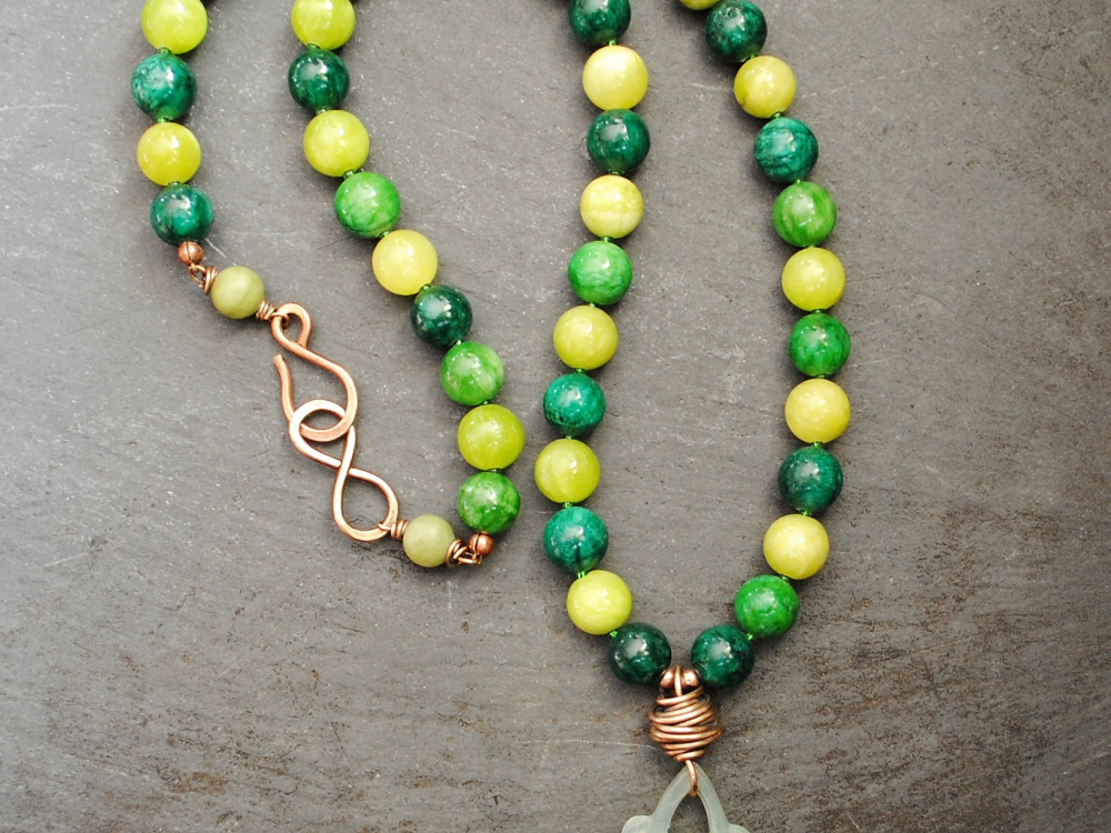 Celtic Knot Necklace With Mixed Jade Beads Handmade By
