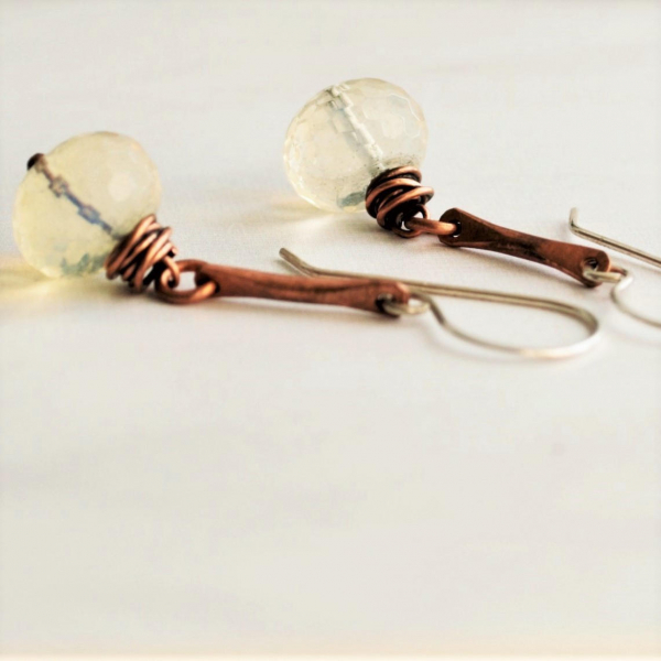 Pineapple Quartz Earrings Hammered Copper Sterling Ear Wires Handmade Jewelry Ru