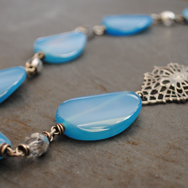 Asymmetrical Blue Agate Necklace with Filigree Bold Statement Necklace