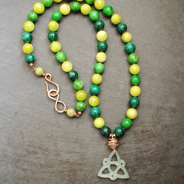 Celtic Knot Necklace with multi colored jade beads