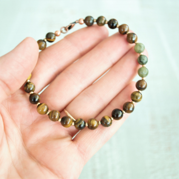 Tigers Eye with Connemara Marble beads bracelet