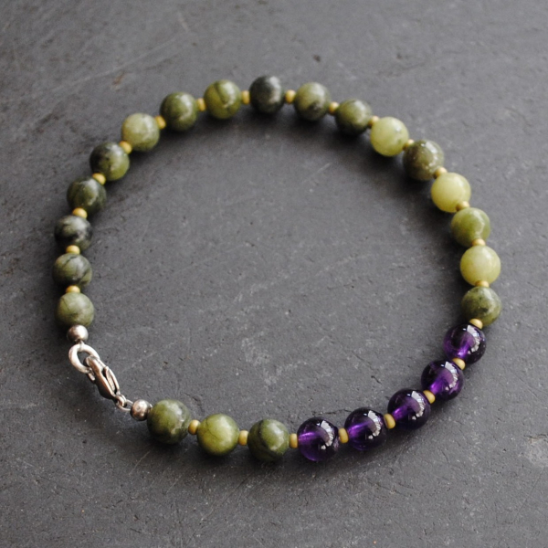 Connemara Marble Bracelet with Amethyst Beads Irish Jewelry