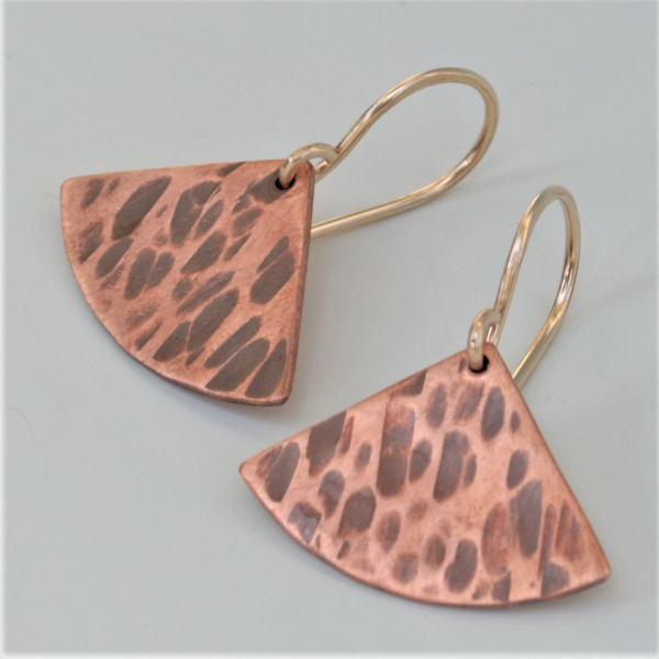 Hammered Stick Earrings in Copper with Sterling Ear Wires Simple Earrings Minima