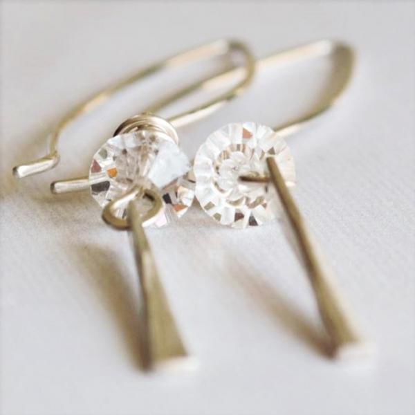 Vintage Crystal Long Tapered Earrings