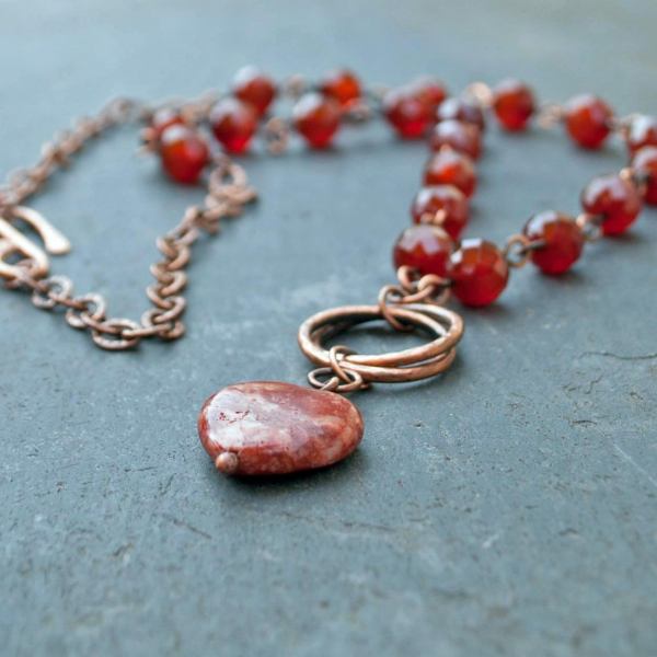 Irish Necklace Red Heart made from Cork Ireland Red Marble