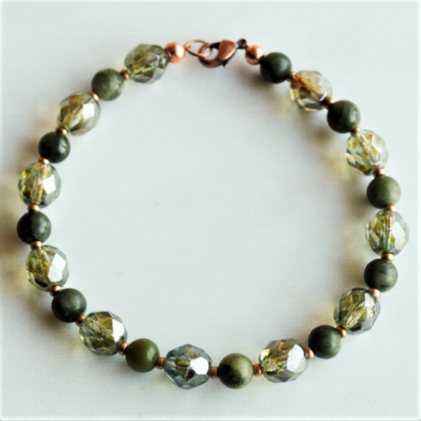 Connemara Marble Bracelet with sparkling Czech glass beads
