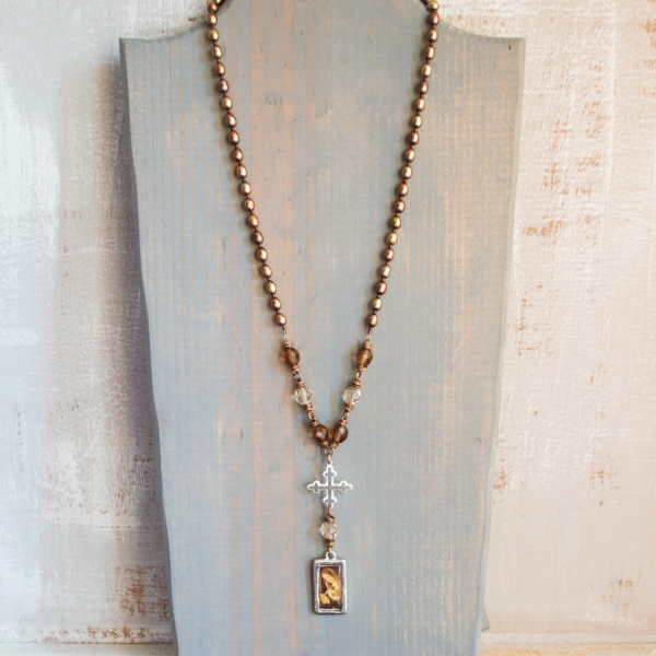 Blessed Mother Necklace with Bronze wire and Pearls