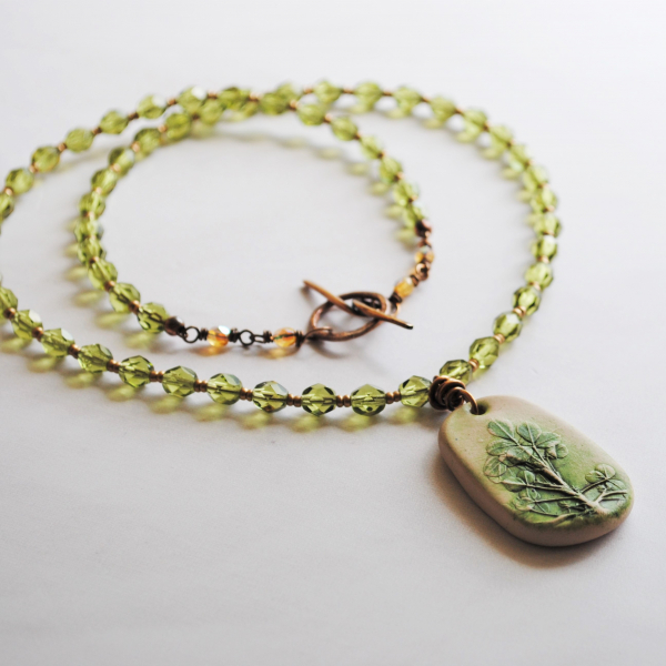 Shamrock Necklace with Czech Glass Beads