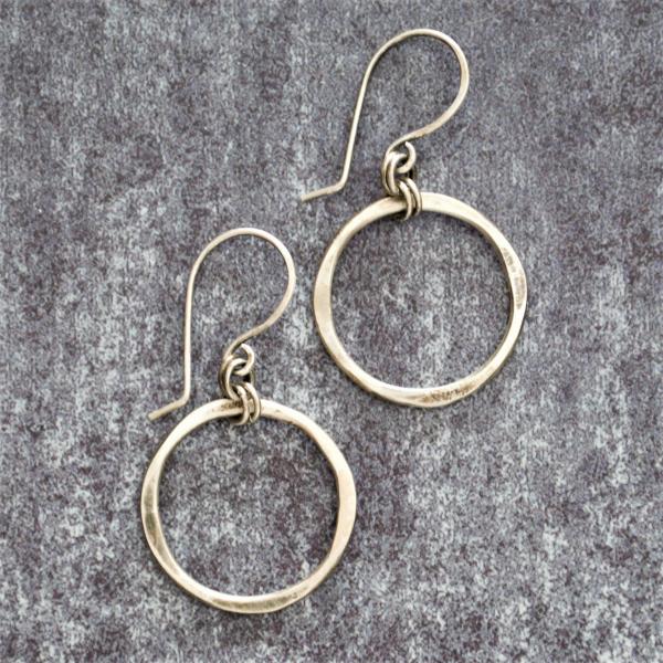 Hammered Sterling Earrings Hoop Earrings Quatrefoil Earrings Rustic Modern Earri