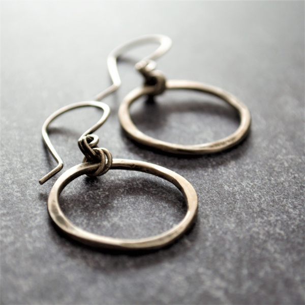Hammered Sterling Earrings Hoop Earrings Quatrefoil Earrings Rustic Modern Earri