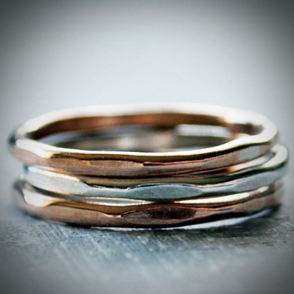 Hammered Ring Set Sterling and Bronze Rings Stacked Rings Minimalist Jewelry
