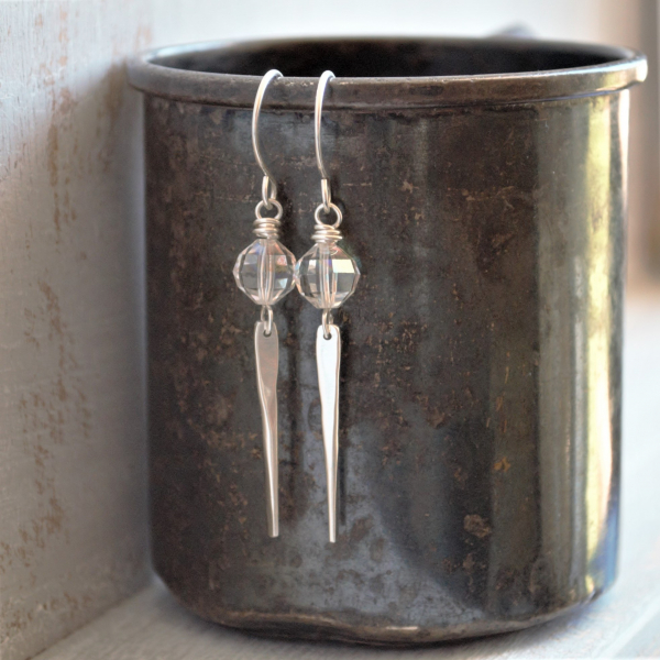 Sterling Silver Tapered Earrings with Vintage Crystal