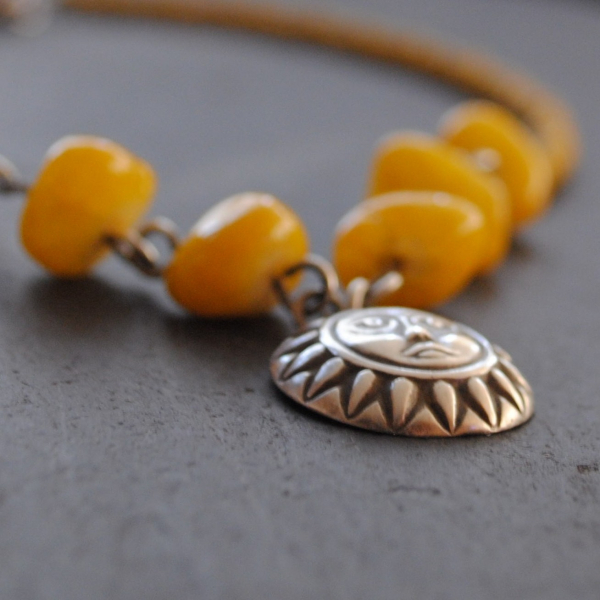 Yellow Sun Necklace Native American Style Necklace