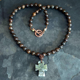 Connemara Marble Cross Necklace with Bronzite