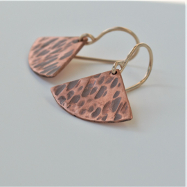 Fan Shaped Earrings Hammered Copper Earrings