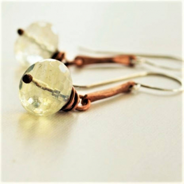 Pineapple Quartz Earrings Hammered Copper Sterling Ear Wires Handmade Jewelry Rustic Jewelry
