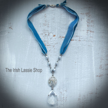 Sale was 40 now 30 Shabby Chic Blessed Mother Necklace Blue Necklace Large Crystal Vintage Jewelry Religious Jewelry