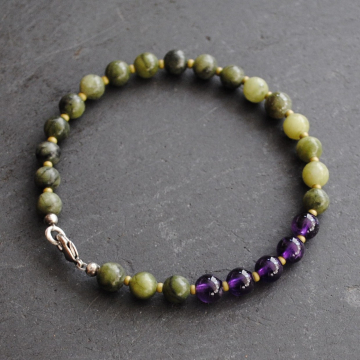 Connemara Marble Bracelet with Amethyst Beads Irish Jewelry Asymmetrical Bracelet