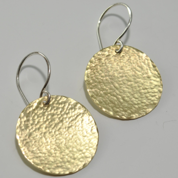 Round Disc Earrings Hammered Brass Earrings Medium Size