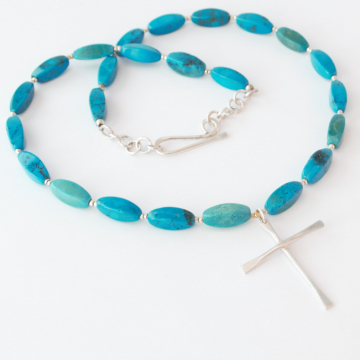 Simple Plain Cross Necklace with Turquoise Beads Unisex Jewelry