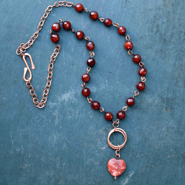 Irish Necklace Red Heart made in Cork Ireland Red Marble with Carnelian Beads Rustic Jewelry Irish Jewelry Celtic Jewelry