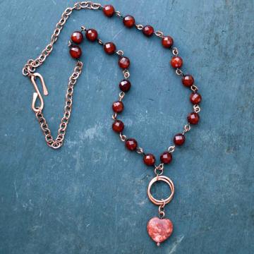 Irish Necklace Red Heart made in Cork Ireland Red Marble with Carnelian Beads Rustic Jewelry Irish Jewelry Celtic Jewelry