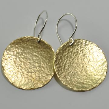 Brass Earrings Round Disc Earrings Sterling Ear Wires Large Earrings