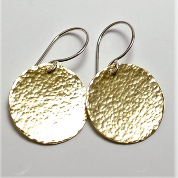 Round Disc Earrings Hammered Brass Earrings Medium Size