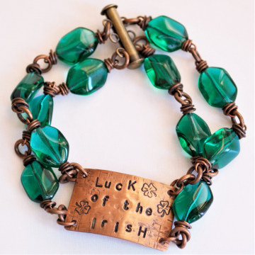 SALE WAS 40 NOW 25 Luck of the Irish Bracelet with Green Glass Beads