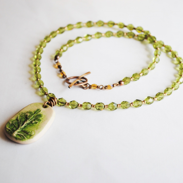Clover Fields Necklace with Czech Glass Beads