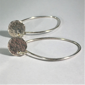Tiny disc earrings Long Wire Earrings